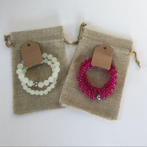 Bead Bracelets in Fuschia and White Color